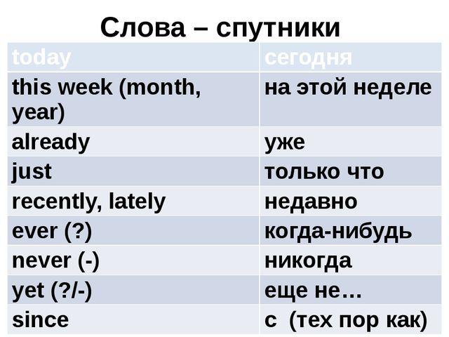 Слова – спутники today сегодня this week (month, year) на этой неделе already...