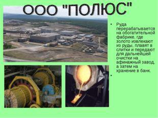 Руда перерабатывается на обогатительной фабрике, где золото извлекают из руды