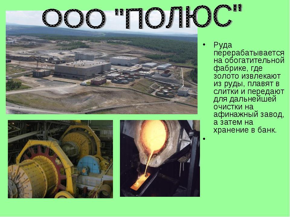 Руда перерабатывается на обогатительной фабрике, где золото извлекают из руды...