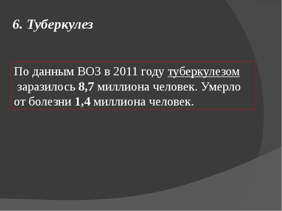 6. Туберкулез По данным ВОЗ в 2011 годутуберкулезомзаразилось8,7миллиона...