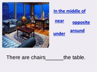 There are chairs______the table.