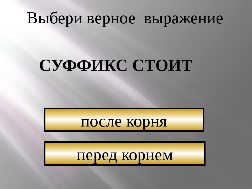 Выбери верное выражение СУФФИКС СТОИТ перед корнем после корня