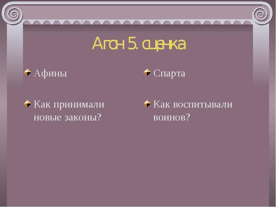 Агон 5. сценка Афины Как принимали новые законы? Спарта Как воспитывали воинов?