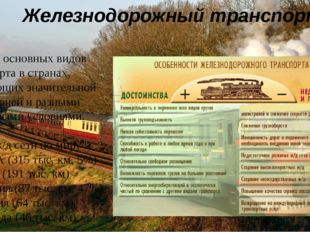 Железнодорожный транспорт Один из основных видов транспорта в странах, облада