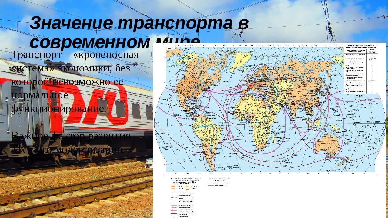 Значение транспорта в современном мире Транспорт – «кровеносная система» экон...