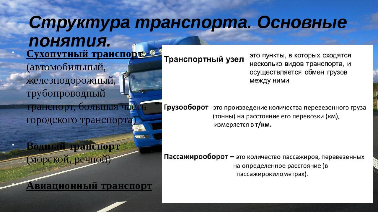 Структура транспорта. Основные понятия. Сухопутный транспорт (автомобильный,...