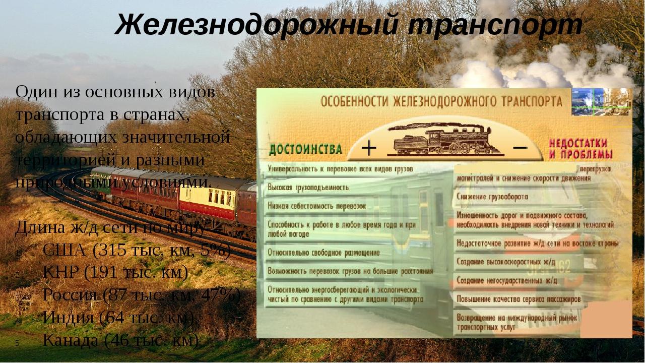 Железнодорожный транспорт Один из основных видов транспорта в странах, облада...