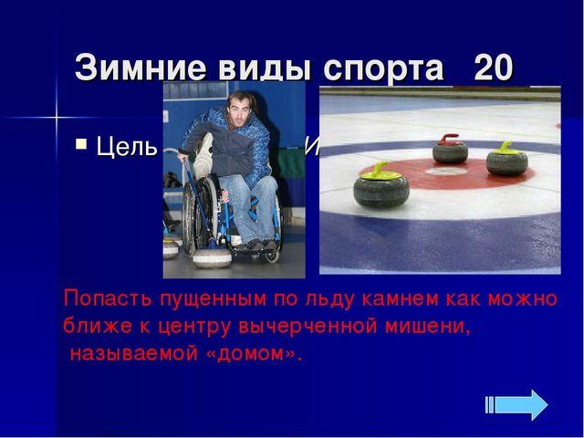 Зимние виды спорта 20 Попасть пущенным по льду камнем как можно ближе к центр...