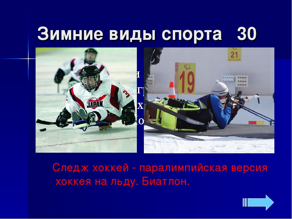 Зимние виды спорта 30 Следж хоккей - паралимпийская версия хоккея на льду. Би...