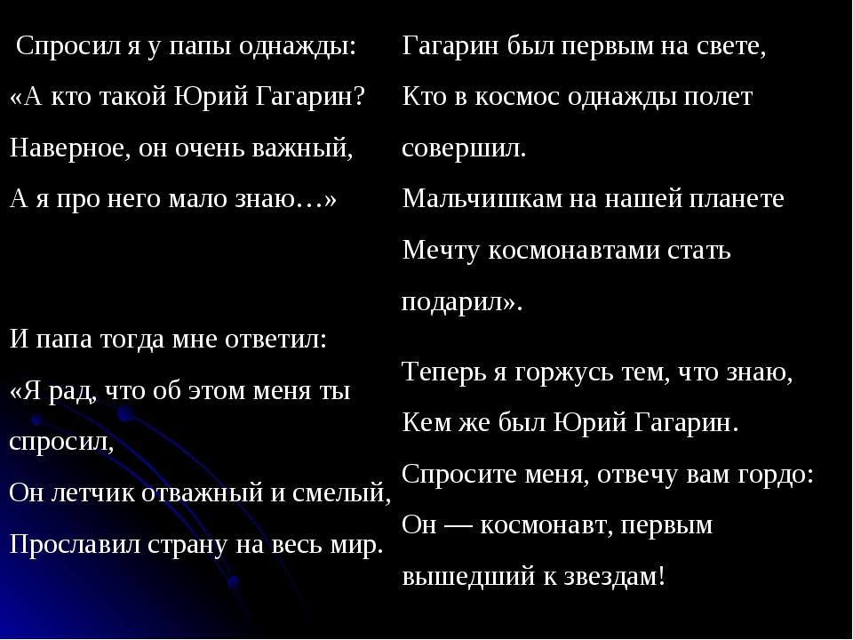 Спросил я у папы однажды: «А кто такой Юрий Гагарин? Наверное, он очень важн...