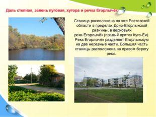 Станица расположена на югеРостовской области в пределахДоно-Егорлыкской рав