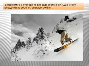 В программе сноубординга два вида состязаний. Одно из них проводится на обыч