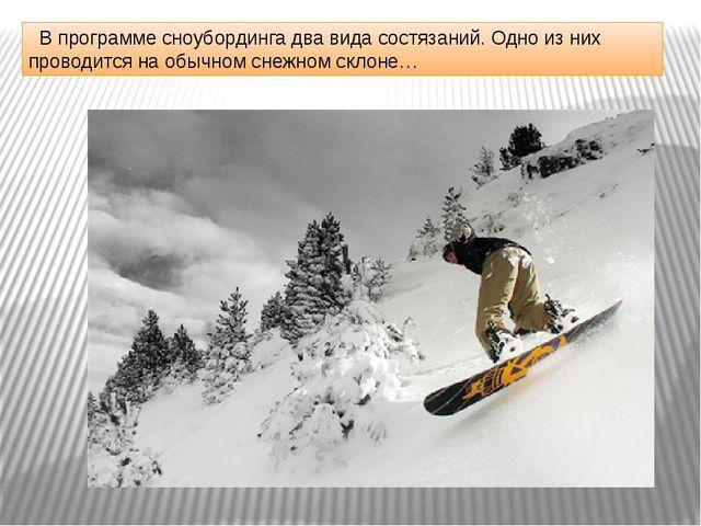 В программе сноубординга два вида состязаний. Одно из них проводится на обыч...
