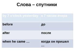 Слова – спутники by 7 o'clock yesterday к 7 часам вчера before до after после