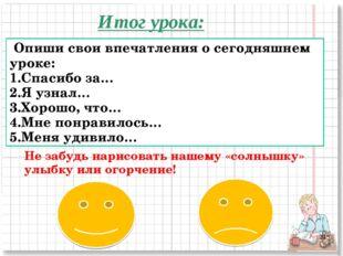 Итог урока: Не забудь нарисовать нашему «солнышку» улыбку или огорчение! Опиш