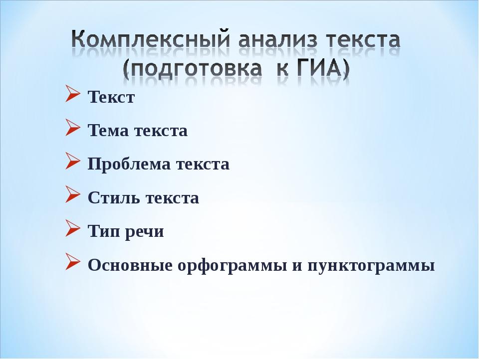 Текст Тема текста Проблема текста Стиль текста Тип речи Основные орфограммы и...