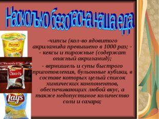 -чипсы (кол-во ядовитого акриламида превышено в 1000 раз; - - кексы и пирожны