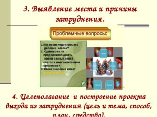 3. Выявление места и причины затруднения. 4. Целеполагание и построение проек