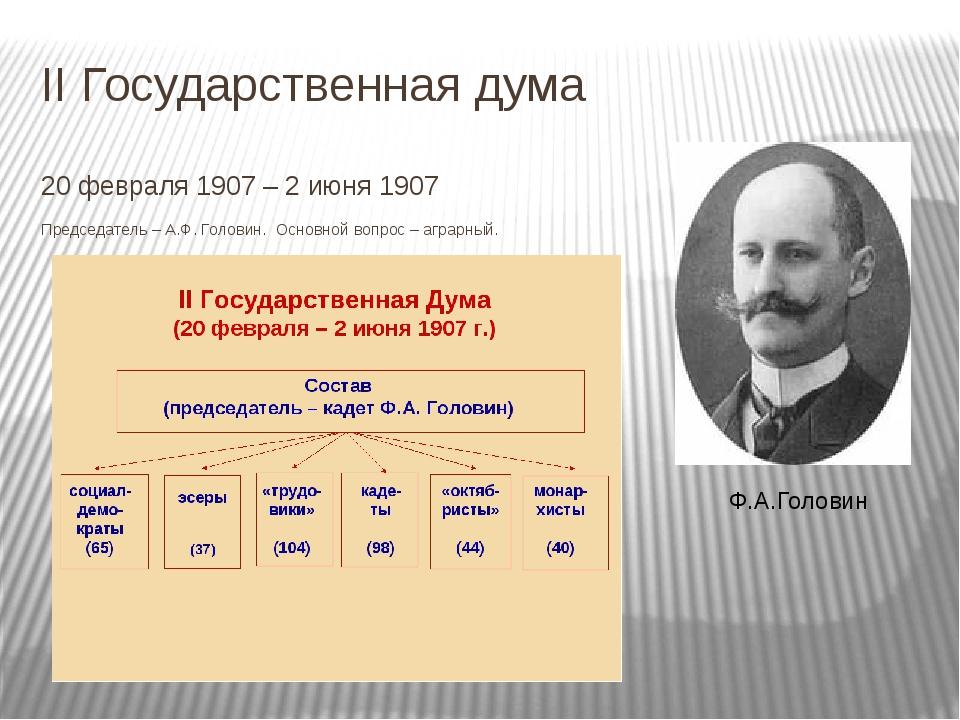 II Государственная дума 20 февраля 1907 – 2 июня 1907 Председатель – А.Ф. Го...