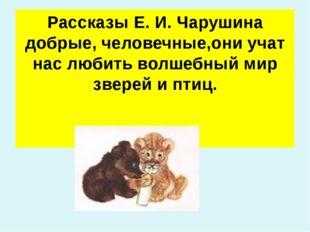 Рассказы Е. И. Чарушина добрые, человечные,они учат нас любить волшебный мир