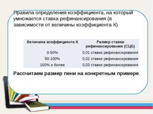 Правила определения коэффициента, на который умножается ставка рефинансирован