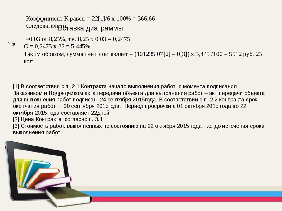 Коэффициент К равен = 22[1]/6 х 100% = 366,66 Следовательно, =0,03 от 8,25%,...