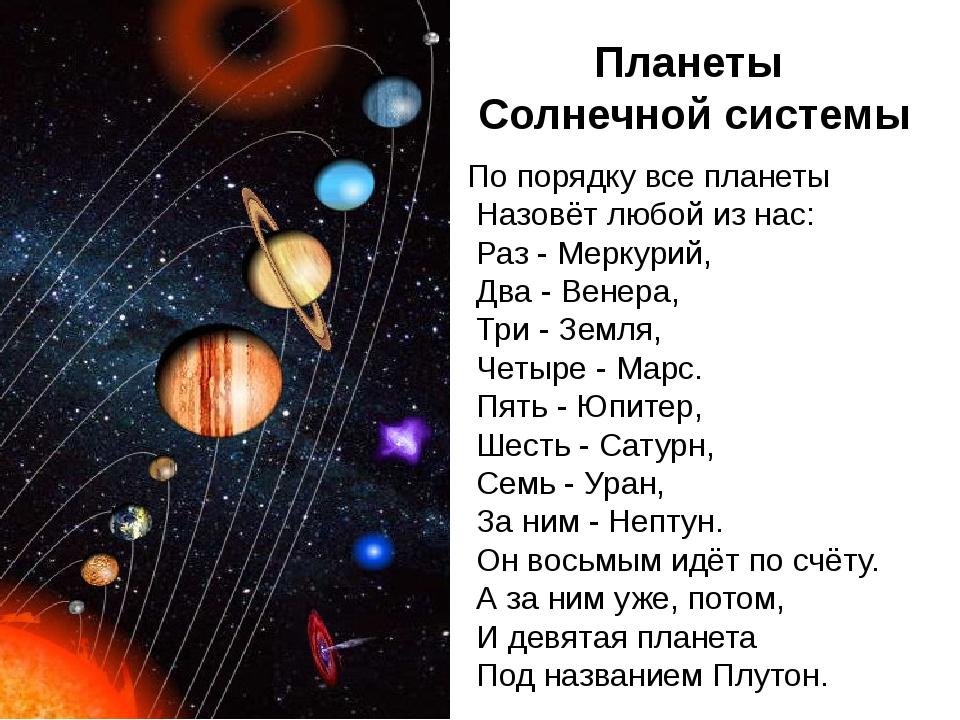 Как запомнить названия планет стих