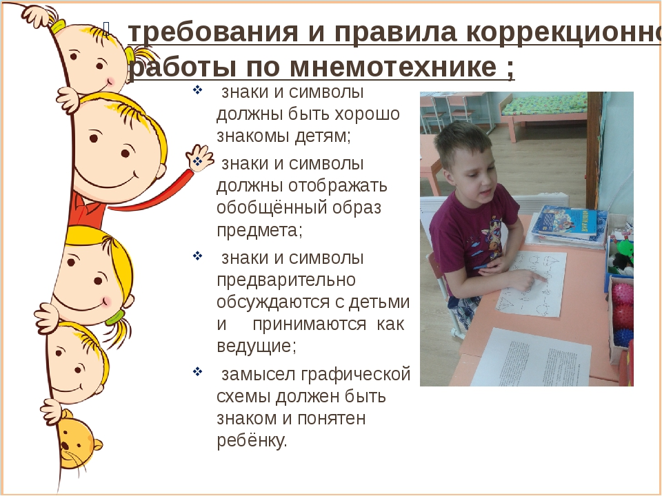 требования и правила коррекционной работы по мнемотехнике ; знаки и символы д...