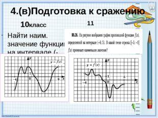 4.(в)Подготовка к сражению Найти наим. значение функции на интервале (-2;1)