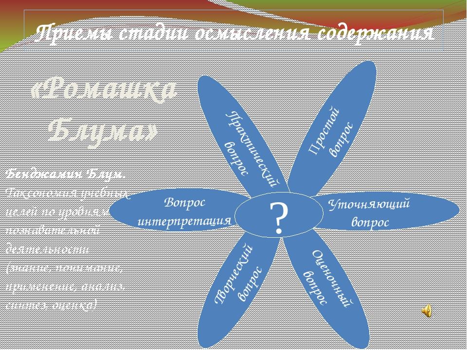 «Ромашка Блума» Простой вопрос Уточняющий вопрос Оценочный вопрос Творческий...