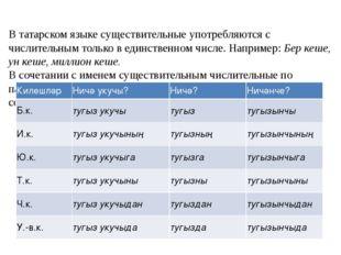 В татарском языке существительные употребляются с числительным только в един