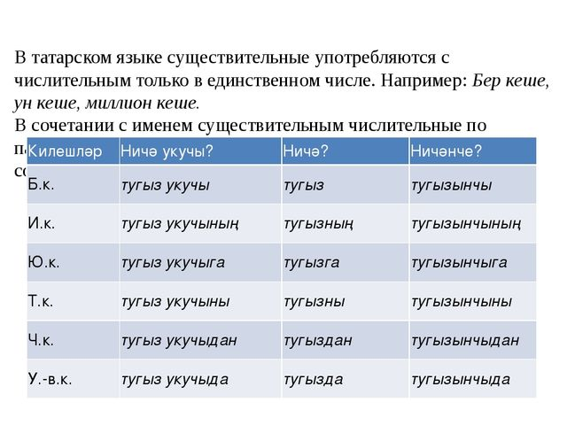 В татарском языке существительные употребляются с числительным только в един...