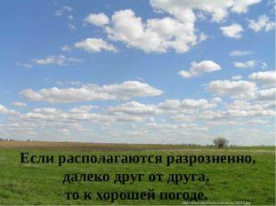 Если располагаются разрозненно, далеко друг от друга, то к хорошей погоде.