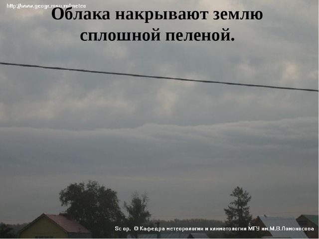 Облака накрывают землю сплошной пеленой.
