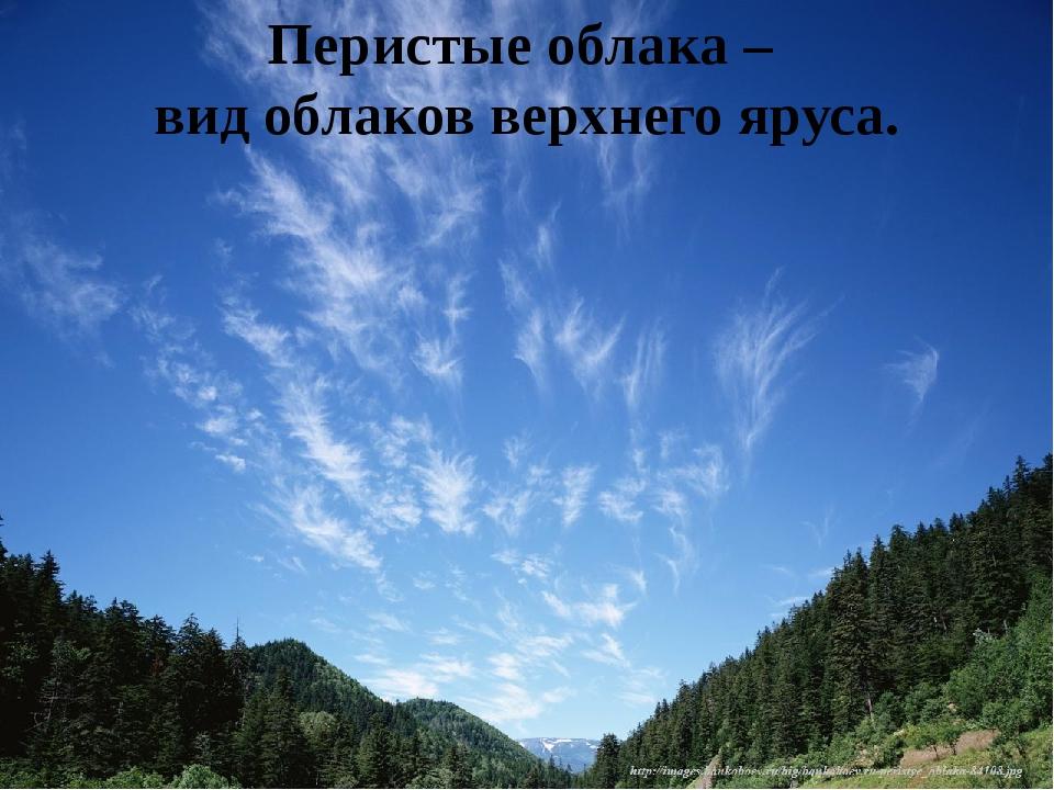 Перистые облака – вид облаков верхнего яруса.