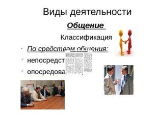 Виды деятельности Общение Классификация По средствам общения: непосредственно
