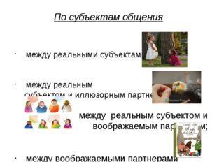 По субъектам общения между реальными субъектами; между реальным субъектом и и
