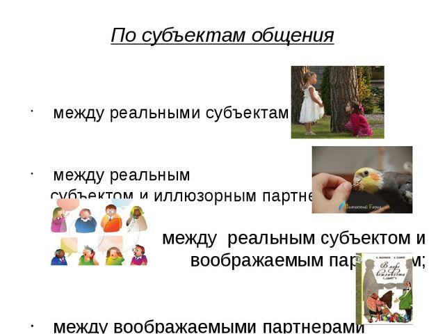 По субъектам общения между реальными субъектами; между реальным субъектом и и...