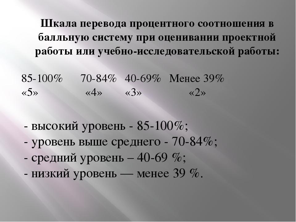 Шкала перевода процентного соотношения в балльную систему при оценивании прое...