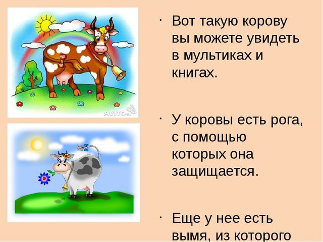 Вот такую корову вы можете увидеть в мультиках и книгах. У коровы есть рога,...