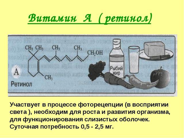 Витамин А ( ретинол) Участвует в процессе фоторецепции (в восприятии света ),...