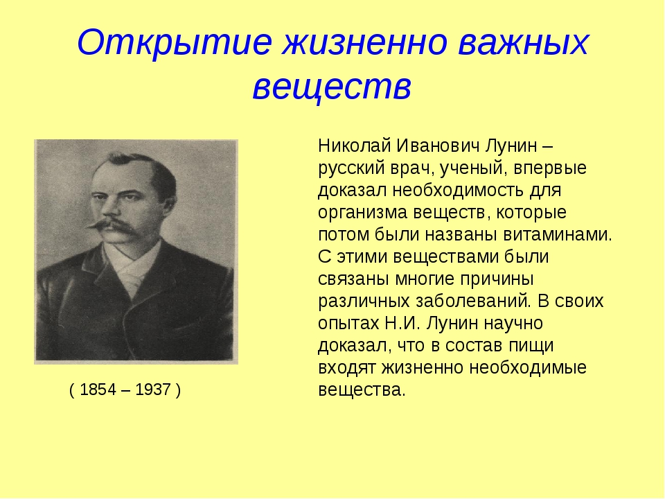 Открытие жизненно важных веществ Николай Иванович Лунин – русский врач, учены...