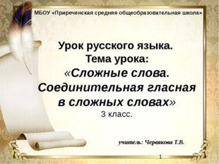 МБОУ «Приреченская средняя общеобразовательная школа» Урок русского языка. Те