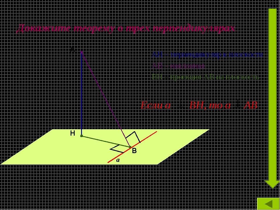 Докажите теорему о трех перпендикулярах АН – перпендикуляр к плоскости АВ – н...