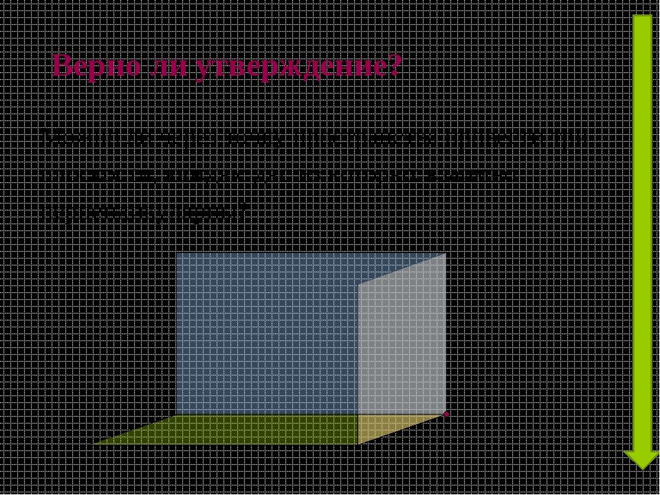 Верно ли утверждение? Можно ли через точку пространства провести три плоскост...