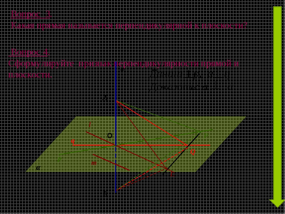 Вопрос 4. Сформулируйте признак перпендикулярности прямой и плоскости. Вопро...
