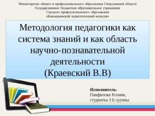 Методология педагогики как система знаний и как область научно-познавательной
