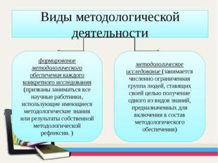 Виды методологической деятельности формирование методологического обеспечения