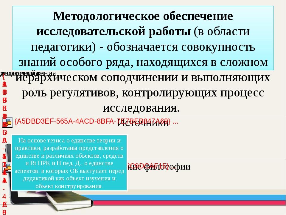 Методологическое обеспечение исследовательской работы (в области педагогики)...