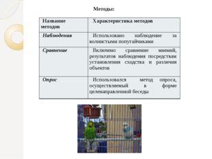 Методы: Название методов Характеристика методов Наблюдения Использовано набл